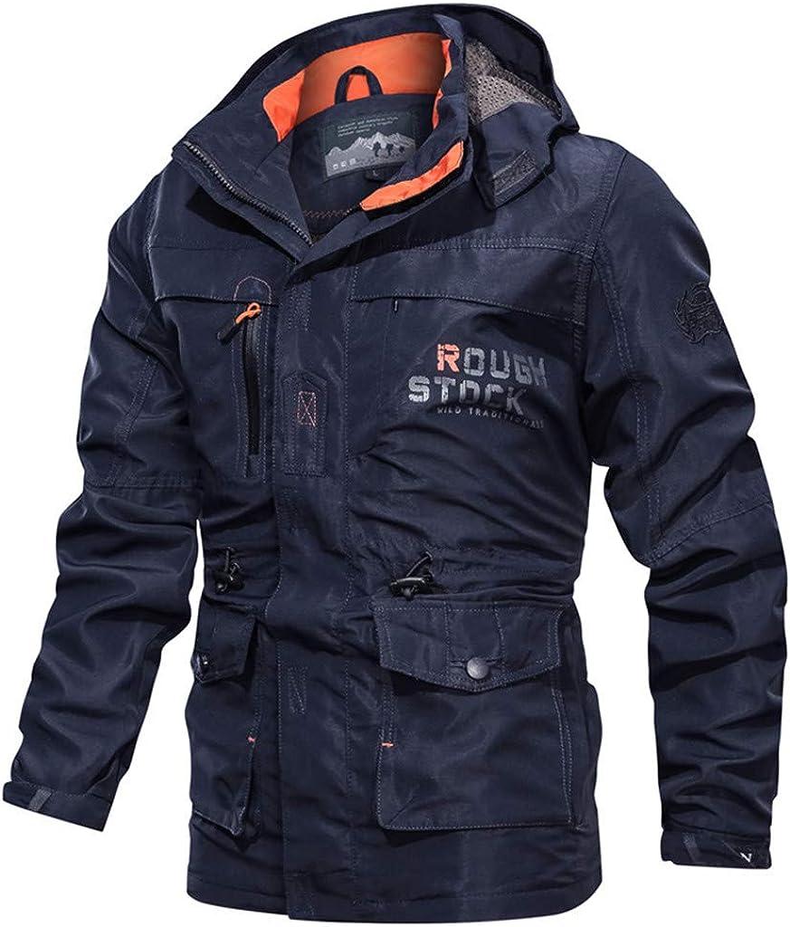 Asibeiul Men's Autumn Winter Hoodie Coat Jacket Waterproof Hooded Zipper Warm Outwear Warm Fleece Casual Outdoor Long Sleeve