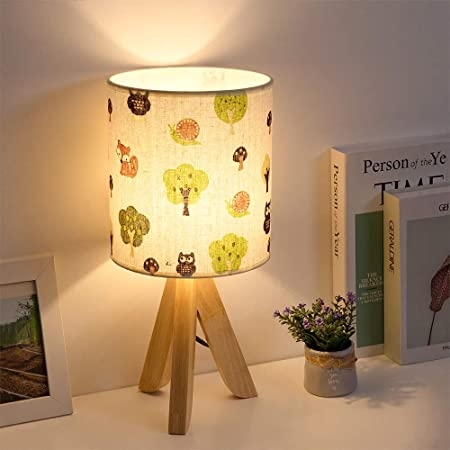 HAITRAL Tripod Table Lamp - Kids Nightstand Lamp with Fabric Cartoon Lampshade, Modern Bedside Lamp for Bedrooms Nursery Living Room Children Room Play Room Shelf