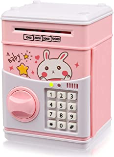 New Kids Cartoon Electronic Money Bank,Yoego Security Piggy Bank Mini ATM Password Coins Money Savings Box Toys Smart Voice & Music Prompt,Code Lock for Children/Toy Gifts Birthday Gift (Pink Rabbit)