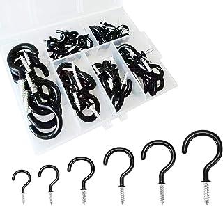12 St/ück schwarz zum Einschrauben Ringhaken selbstschneidende Schrauben Sourcing Map 6,6 cm Schraubhaken