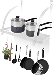 Sorbus Kitchen Wall Pot Rack with Hooks — Decorative Wall Mounted Storage Rack — Multi-Purpose Shelf Organizer Great for Kitchen Cookware, Utensils, Pans, Books, Household Items, Bathroom (White)