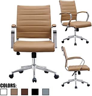 2xhome Tan Beige Modern Contemporary Tan Brown Mid Back Ribbed PU Leather Swivel Tilt Adjustable Chair Executive Manager Office Conference Room Work Task Computer Ribbed Desk Chrome Wheels Arms