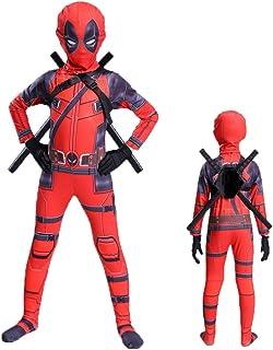 BLOIBFS Deadpool De Traje Disfraces Y Accesorios Disfraces Ninos Superheroes Disfraz De Halloween Máscara Espada Fiesta De Disfraces Disfraces Superheroes Ninos,Child-120CM