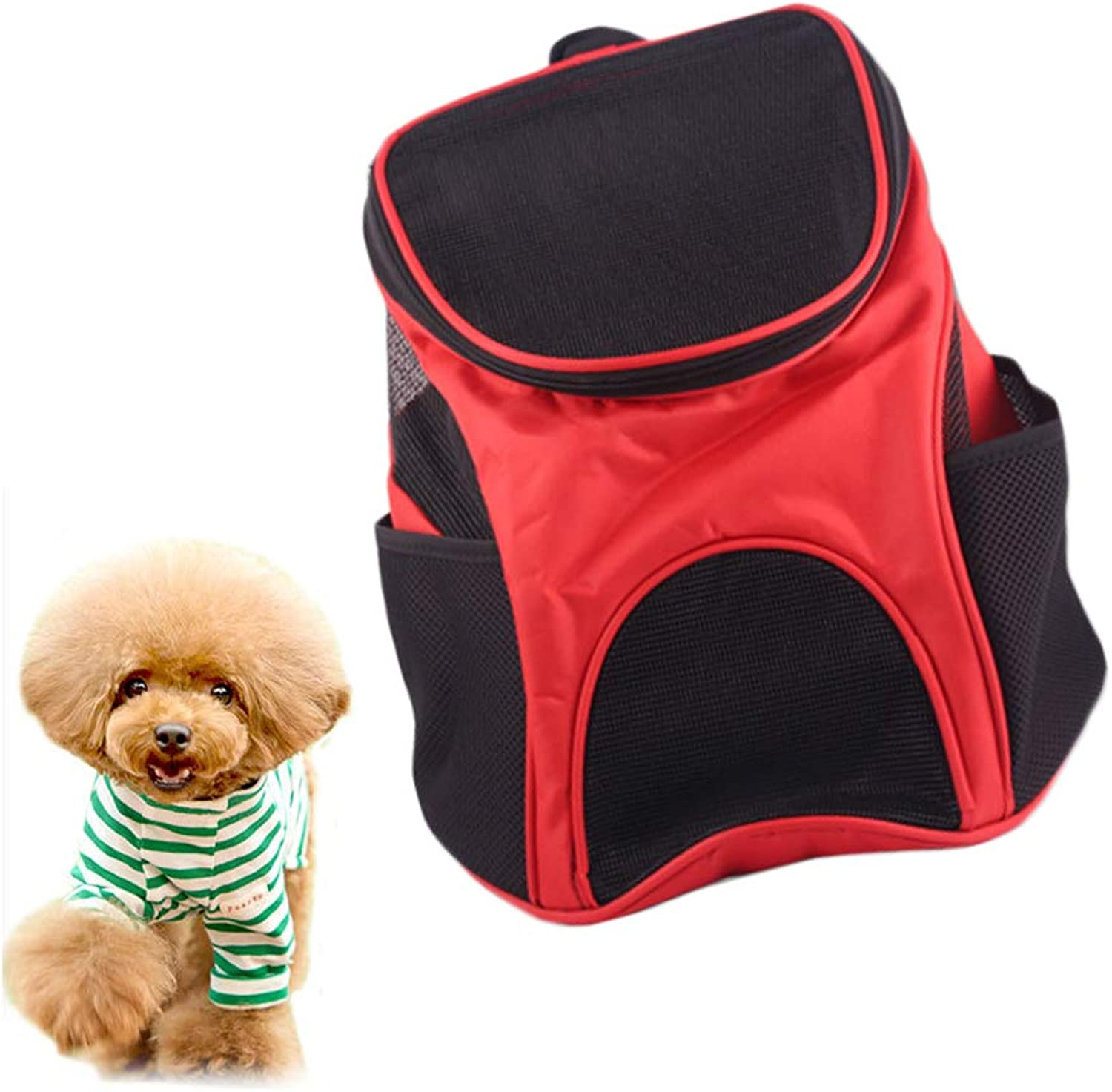 Pet Carrying Case, Cat Dog Teddy Breathable Mesh Backpack, Oxford Mesh Backpack Red