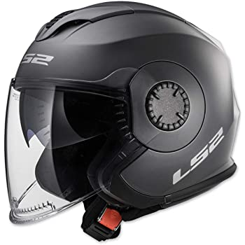 Matte Black, X-Large LS2 Helmets 569-3015 Track Solid Open Face Motorcycle Helmet with Sunshield