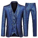 YFFUSHI Men's Shiny 3 Piece Suit Design Peacock Feather Printed Wedding Prom Tuxedo (Blue, Large)
