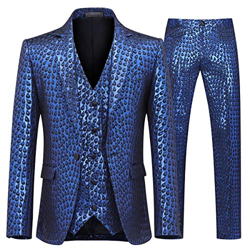 YFFUSHI Men's Shiny 3 Piece Suit Design Peacock Feather Printed Wedding Prom Tuxedo (Blue, Large)