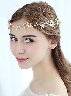 FXmimior, copricapo da sposa con fiori e foglie fatte in casa, con perle di cristallo, accessorio per capelli da donna, co...