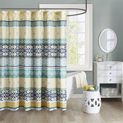 Intelligent Design Printed Cute Youth Bathroom Shower Mildew Resistant Quick Dry Modern Looking Bath-Curtain, 72x72, Green/Yellow