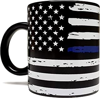 Thin Blue Line - Blue Lives Matter 11oz Matte Black Mug - Grade A Quality - Support Law Enforcement/Police Officer Cop - Foam Box Protection - Perfect Gift