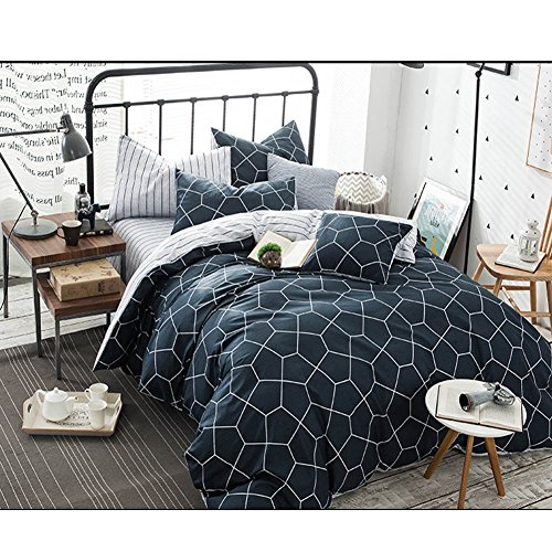 Queen Duvet Cover Set Navy Blue, 3 Piece 1200TC Geometric Diamond Pattern Luxury Microfiber Bedding Comforter Quilt Cover with Zipper Closure, Ties - Best Modern Style for Men and Women