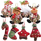 MEJOSER 8Piezas Colgantes árbol Navidad Adornos Navideños Muñecos de Nieve Papá Noel Reno Decoración Fiesta Regalo Manualidades Ornamentos de Navidad