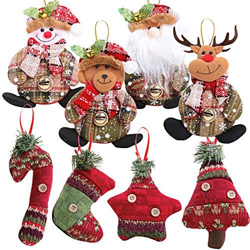 MEJOSER 8 Pezzi Addobbi Natalizi da Appendere per Albero di Natale Decorazioni Natalizie Appese Ornamento Regalo (Multicolore)