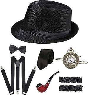 1920s Accessories for Men 20s Gatsby Gangster Costume Accessories Set Fedora Hat Suspenders Black