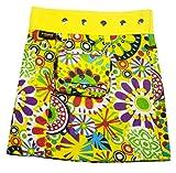 SUNSA Mädchen Rock Jeansrock Minirock Wickelrock Wenderock Sommerrock Mädchenrock aus Baumwolle, Zwei optisch verschiedene Röcke mit einem abnehmbaren Täschchen, Größe ist variabel verstellbar