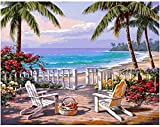 N/O Pintura por números para Adultos Niños DIY Pintura al óleo Kit Manor Junto al mar 40 x 50cm con Marco Lienzo Pintura Arte Decoraciones para el hogar Regalos