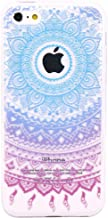 iPhone 5c Case, JAHOLAN Beautiful Clear TPU Soft Case Rubber Silicone Skin Cover for iPhone 5C - Blue Purple Tribal Mandala