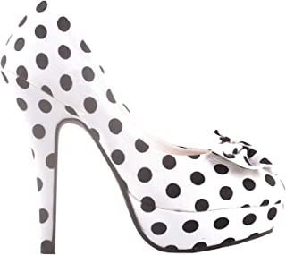 Two Tone Spot Polka Dots Bow Stiletto Platform High Heel Pump,LF30406