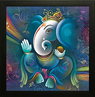 SAF Ganesh Painting exclusive Framed Wall Art Paintings. Frame size (12 inch x 12 inch, (Wood, 30 cm x 3 cm x 30 cm, Speci...