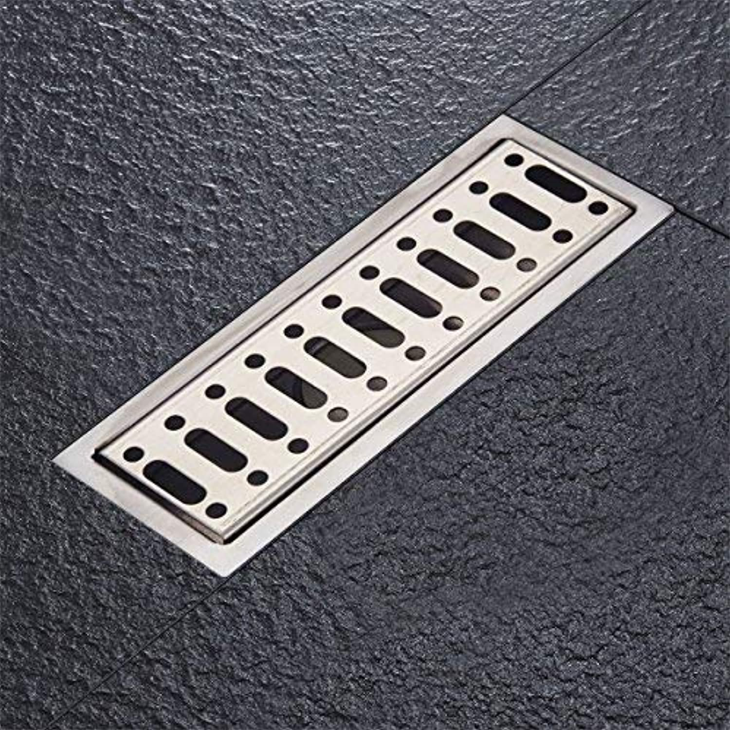 Fyeer Linear Shower Drain Floor Drain Bars Drain Strainers with Removable Grate, 8-Inch, Brushed 304 Stainless Steel