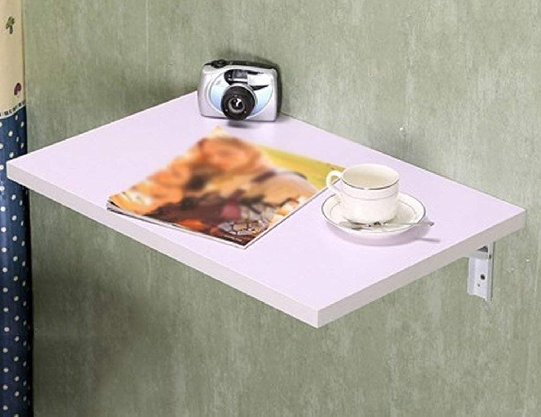 Willsego Tavolo da Pranzo in Legno massello a Parete Tavolo da Lavoro Pieghevole da scrivania per Computer (Coloreee Bianco, Dimensioni opzionali) (Dimensioni  100  40cm) (Dimensione   120  40cm)