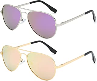 FONHCOO Polarized Sunglasses for Women Men, 2 Pack Oversized Aviator Sunglasses Metal Frame UV400 Protection (Pink + Purple)