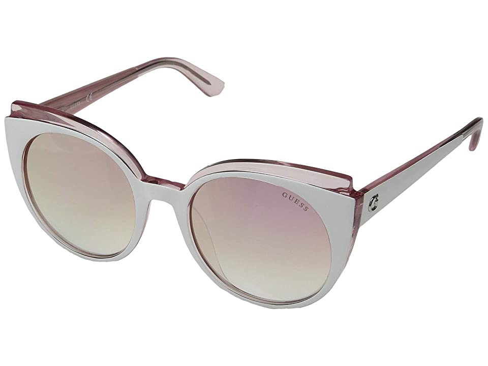 GUESS GU7591 (White/Blush Front/Gradient/Pink Mirror Lens) Fashion Sunglasses