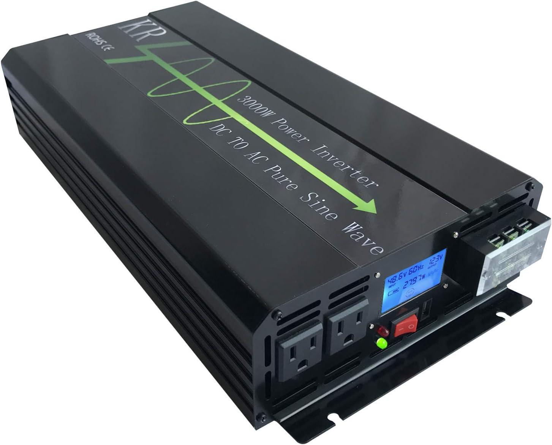 KRXNY 3000W Pure Sine Wave Power Inverter Peak 48V Tulsa Mall 6000W 1 to Raleigh Mall DC