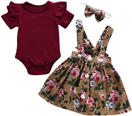 802afadbf8c 3Pcs Infant Toddler Baby Girls Summer Boho Floral Romper Jumpsuit Strap  Skirt Overall Dress Outfits Set