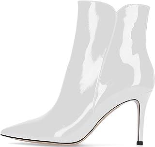 Soireelady Stivali Donna con Tacco,Tacco a Spillo 8 CM,alla Caviglia Stivaletti da Donna