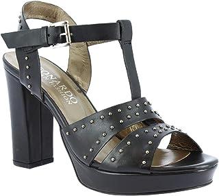 Leonardo Shoes Sandali Tacco Plateau da Donna Artigianali in Pelle Nera Borchie - Codice Modello: S004 KONS Nero