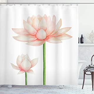 Ambesonne Yoga Shower Curtain, Pastel Colored Blooming Lotus Flower Romantic Fresh Garden Plant Spa Theme, Cloth Fabric Bathroom Decor Set with Hooks, 70