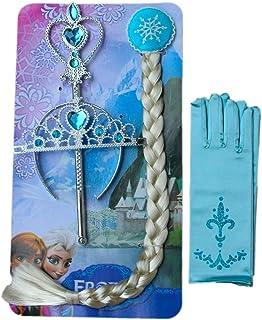 YOJAP アナと雪の女王 エルサ 風 子供用コスプレ 豪華 4点セット ハートのティアラ 魔法のステッキ 三つ編みウィッグ 手袋