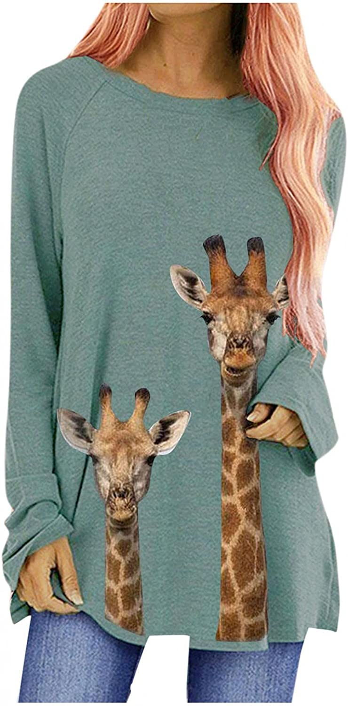 Sweatshirt for Women, Winter Fashion Long Sleeve Sweatshirts Giraffe Print Casual Oversized Pullover Tops Shirt