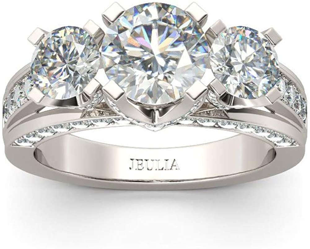 Jeulia 3 Carat Three Super Fees free!! beauty product restock quality top Stone Engagement for Round Rings Women Cut