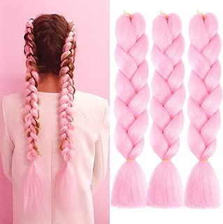 Ombre Braiding hair 24 inch 100g Crochet Braids Kanekalon Synthetic Braiding Hair Extension (24inch,3Packs,Pink)