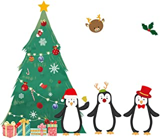 Jeeke 2019 Merry Christmas Wall Sticker Christmas Tree Penguin Mural Decor Decal Removable Window Glass Stickers Clings for Happy New Year Decor