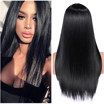 Quantum Love Wigs Long Natural Straight Middle Part Natural Black Color Wig Heat Resistant Realistic Synthetic Daily Party Wig for Women