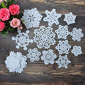 TOSEEY 24PCS 100%Cotton,Handmade Vintage Round Lace Doilies Placemats Snowflake Mini Doilies for Table Decoration Varied Sizes White