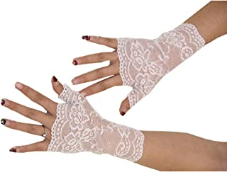 Aurora Bridal Women's Short Lace Half Finger Bridal Gloves