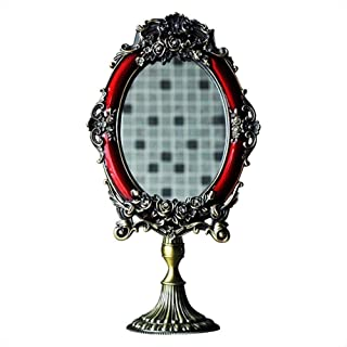 Asdfnfa Cosmetic Mirror Retro European Style Metal Dressing Mirror Desktop Princess Makeup Mirror
