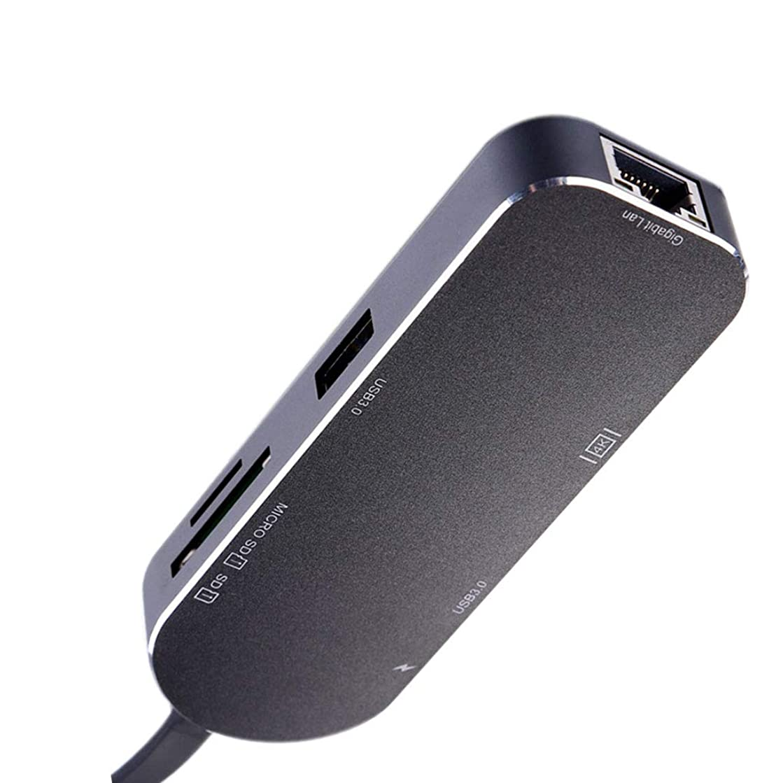 Hotaluyt USB3.0 Type-c Hub HD Video Adapter Ethernet Network RJ45 Converter Laptop Type-c Card Reader