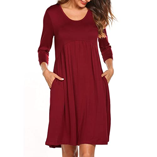 400f69471ff Naggoo Women 3 4 Sleeve Scoop Neck Empire Waist Pleated Loose Swing Tunic  Dresses with
