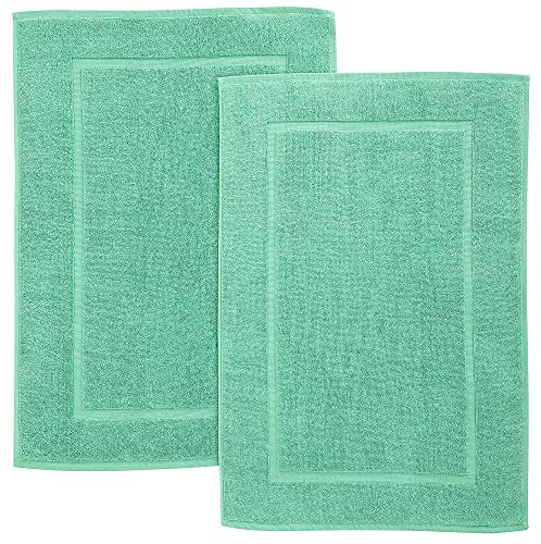 Bliss Casa Cotton Banded Bath Mats (2 Pack) [Not a Bathroom Rug] 20 x 32 Inch Genuine Ring Spun Cotton Highly Absorbent Bath Mat Set Washable Bathroom Floor Towel (Mint)