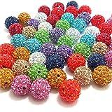 RUBYCA Pave Czech Crystal Disco Ball Clay Beads fit Shamballa Jewelry (20pcs, 10mm, 30 Colors Mixed)