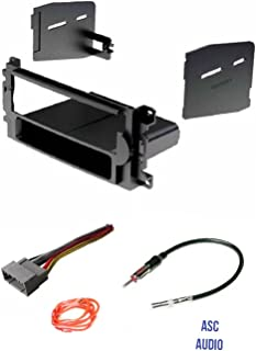 ASC Audio Car Stereo Radio Install Dash Kit, Wire Harness, and Antenna Adapter to Add a Single Din Radio for Some Chrysler Dodge Jeep Without Factory Navigation- Vehicles Listed Below,