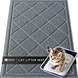 """Sierra Concepts Large Cat Litter Mat 36""""x24"""" - Kitty Box Pet Food Bowl Trapping Dirt, Soft on Paws Feeding Accessories, Waterproof, Anti Slip, Floor Door Mats Low Profile Heavy Duty Durable, Gray"""