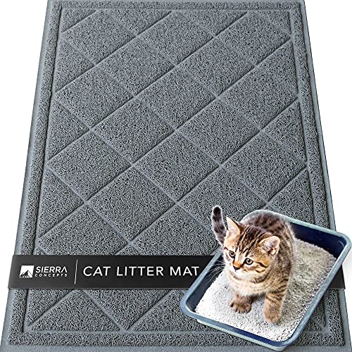 Sierra Concepts Large Cat Litter Mat 36'x24' - Kitty Box Pet Food Bowl Trapping Dirt, Soft on Paws Feeding Accessories, Waterproof, Anti Slip, Floor...
