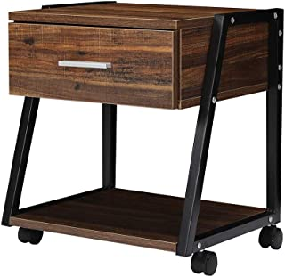 Industrial Side Table on Wheels with Drawer, Mobile End Table Coffee Table Night Stand with Storage Shelf and Rolling Wheels for Living Room Bedroom Office