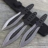 3 PC Ninja Throwing Knives Set w/Sheath Kunai Combat Tactical Hunting Knife
